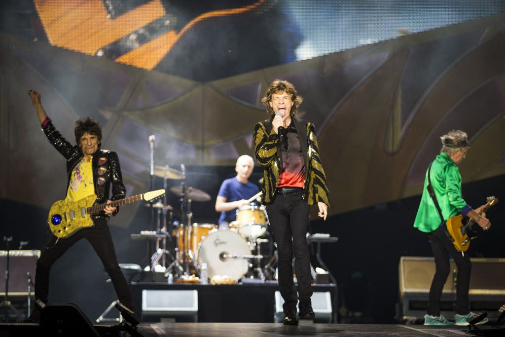 The Rolling Stones: guitarist Ronnie Wood, drummer Charlie Watts, singer Mick Jagger and guitarist Keith Richards.