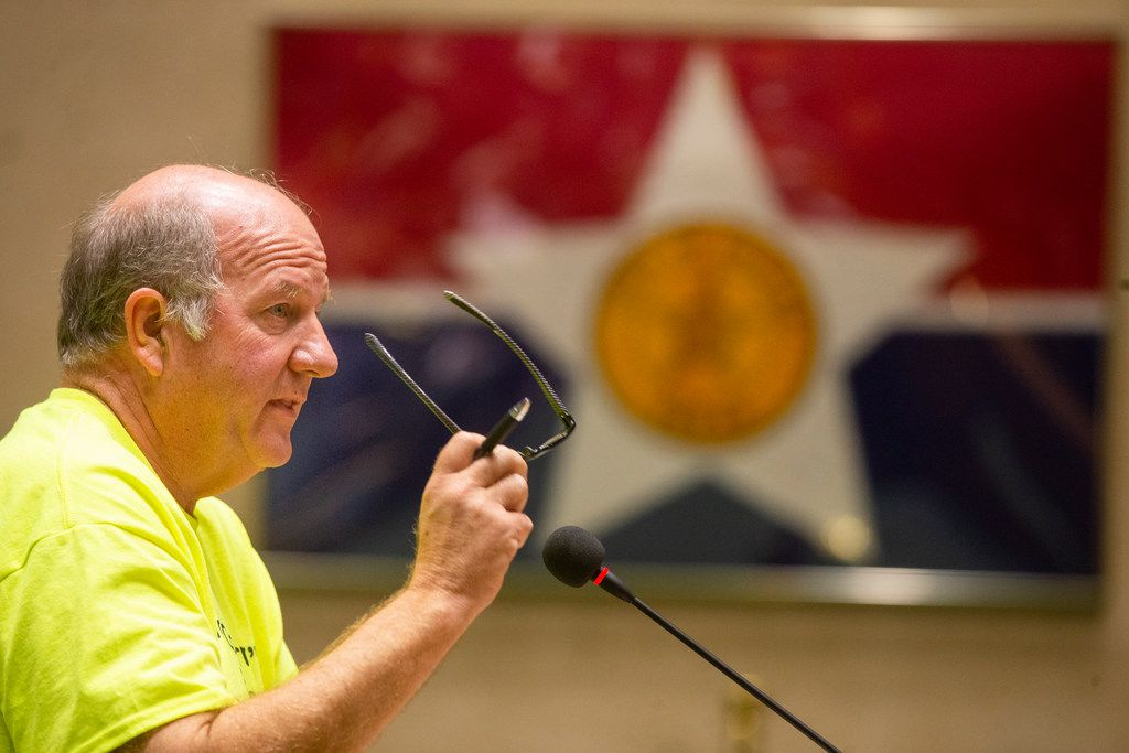 Dale Denport, owner of Jim's Car Wash, addresses the members of the city council at Dallas City Hall on Wednesday, October 24, 2018. Members of the public gave their comment regarding a resolution requesting the Board of Adjustment to authorize compliance proceedings for Jim's Car Wash. (Shaban Athuman/The Dallas Morning News)