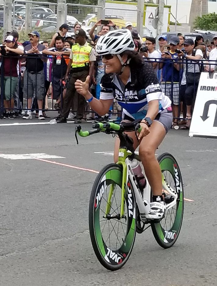 Nina Vaca, CEO of Dallas-based Pinnacle Group, competes in the Ironman 70.3 in Manta, Ecuador on July 30, 2017 to raise funds for the 40-home  Villa de la Alegra  (Village of Happiness)  that she s building with the help of the local Rotary Club in Muisne, Ecuador, following a massive earthquake in April, 2016.