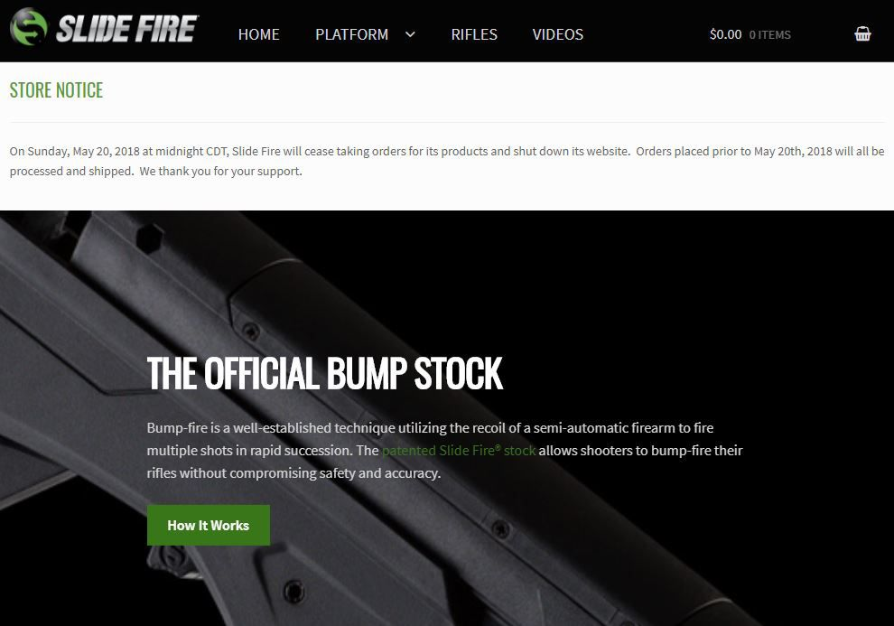 Notice posted on Slide Fire's website on April 17, 2018, indicating the company will stop taking orders on May 20th.