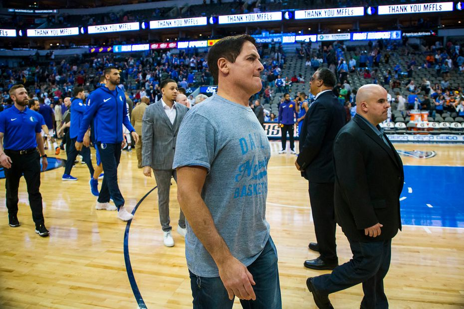 Dallas Mavericks owner Mark Cuban walks off the court following a 124-97 loss to the Phoenix Suns in  season finale for both teams at American Airlines Center on Tuesday, April 10, 2018, in Dallas. (Smiley N. Pool/The Dallas Morning News)