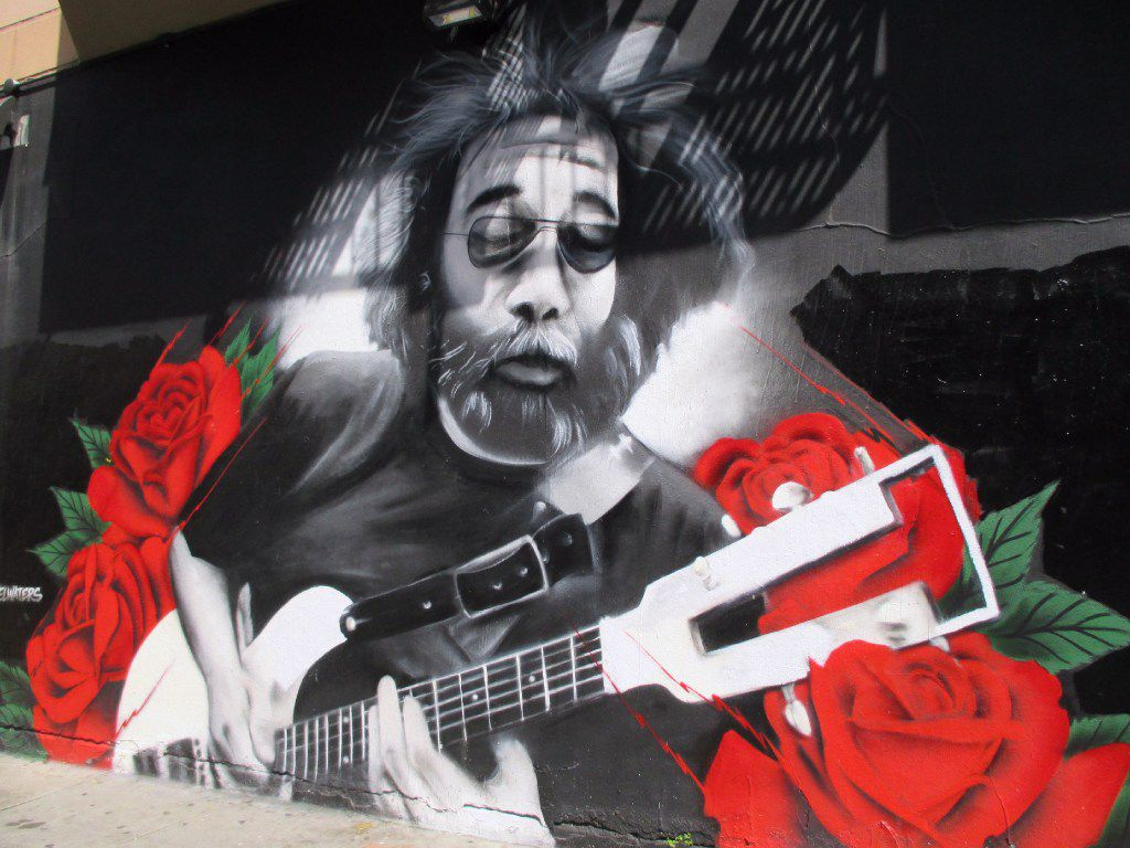 This mural of Jerry Garcia of the Grateful Dead appears in Haight-Ashbury near the townhouse that the band occupied in the late 1960s.