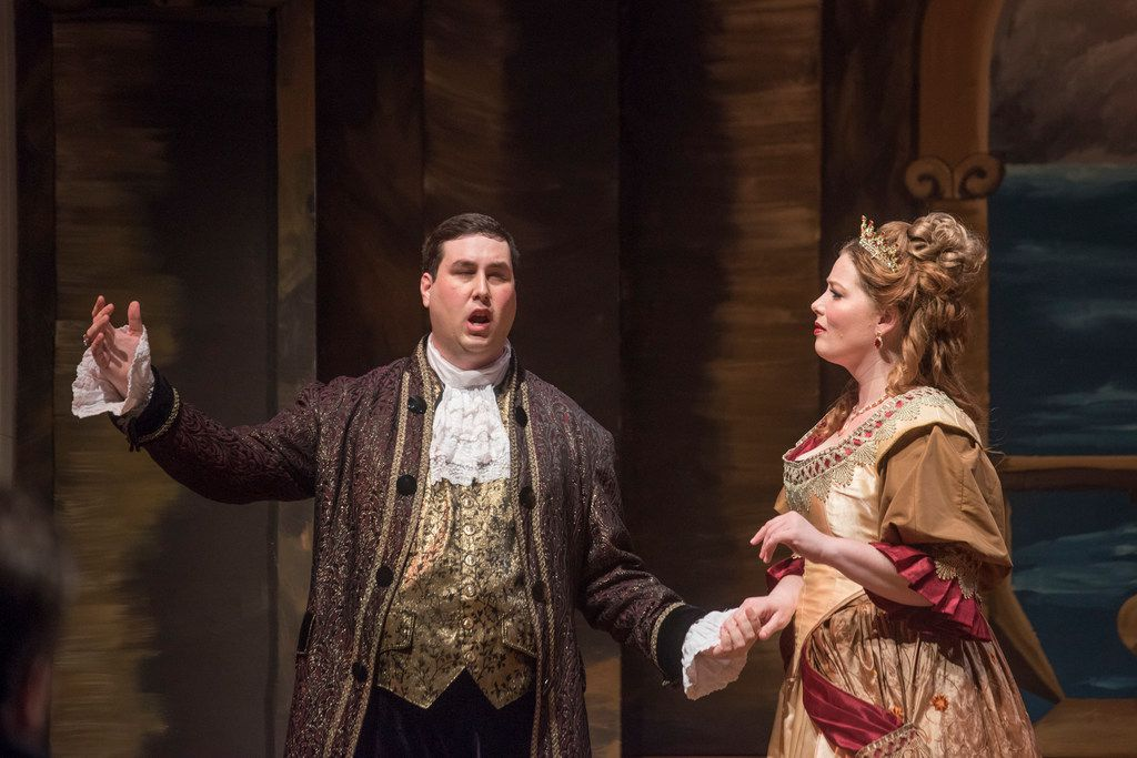 Nicholas Garza (Ruggiero), left, and Lyndi Williams Krause (Alcina), right, perform during a dress rehearsal of Handel's Alcina  at Arts Mission Oak Cliff on Thursday, March 1, 2018. (Rex C. Curry/Special Contributor)