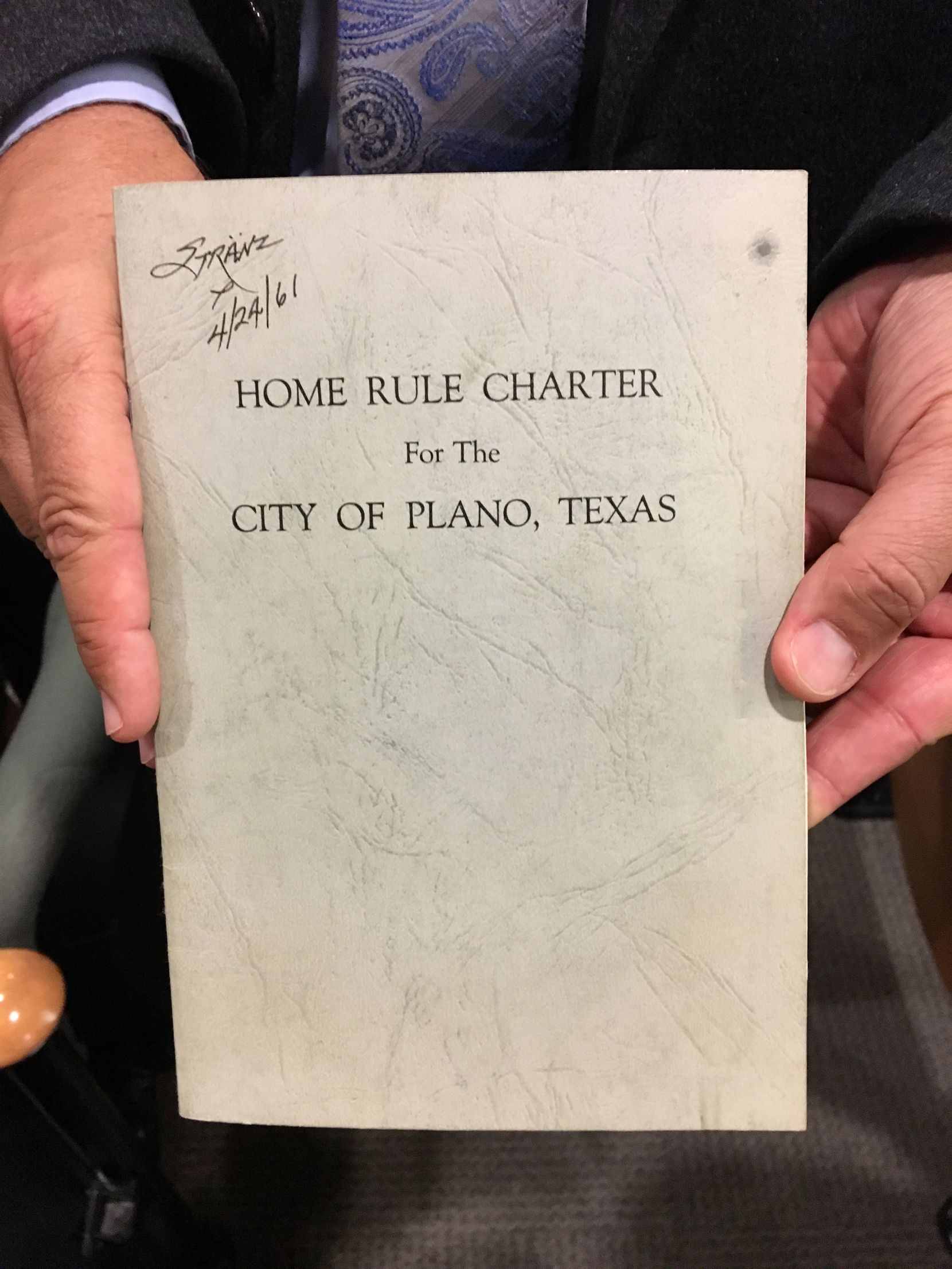 This copy of the 1961 Plano City Charter includes the signature of then Mayor Art Stranz and the date 4/24/1961. It was among the evidence introduced in Tuesday's court hearing.