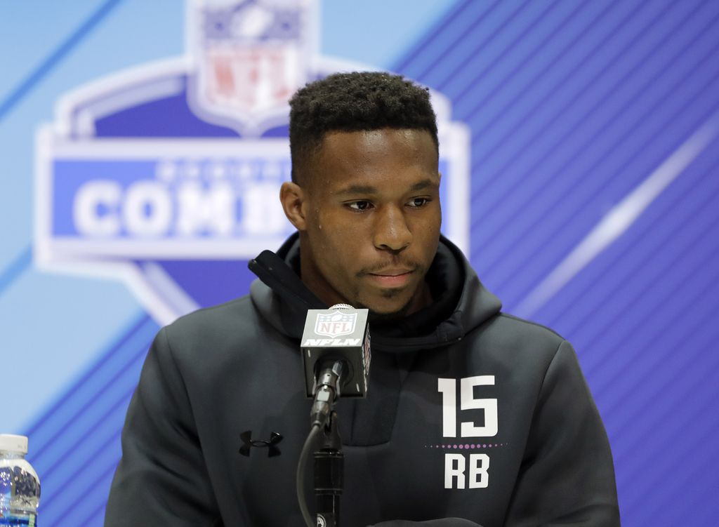 North Carolina State running back Nyheim Hines speaks during a press conference at the NFL football scouting combine, Thursday, March 1, 2018, in Indianapolis. (AP Photo/Darron Cummings)