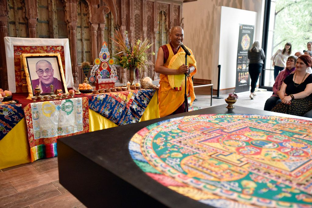 Buddhist monk Geshe Tenzin Phentsok conducts a lecture on Buddhism during the Mystical Arts of Tibet closing ceremony at the Crow Museum of Asian Art in downtown Dallas on Saturday, Oct. 13, 2018.
