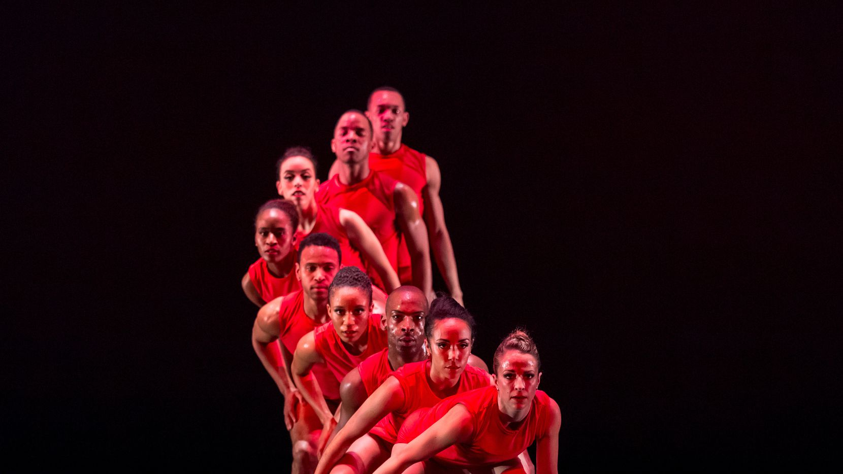 Dallas Black Dance Theatre performing Bruce Wood's Red at a dress rehearsal. Photo by Sharen Bradford/The Dancing Image