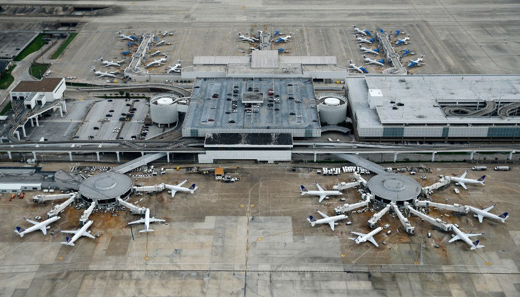 All planes, including a United Airlines fleet pictured Wednesday, have been idled at George Bush Intercontinental Airport by Hurricane Harvey.