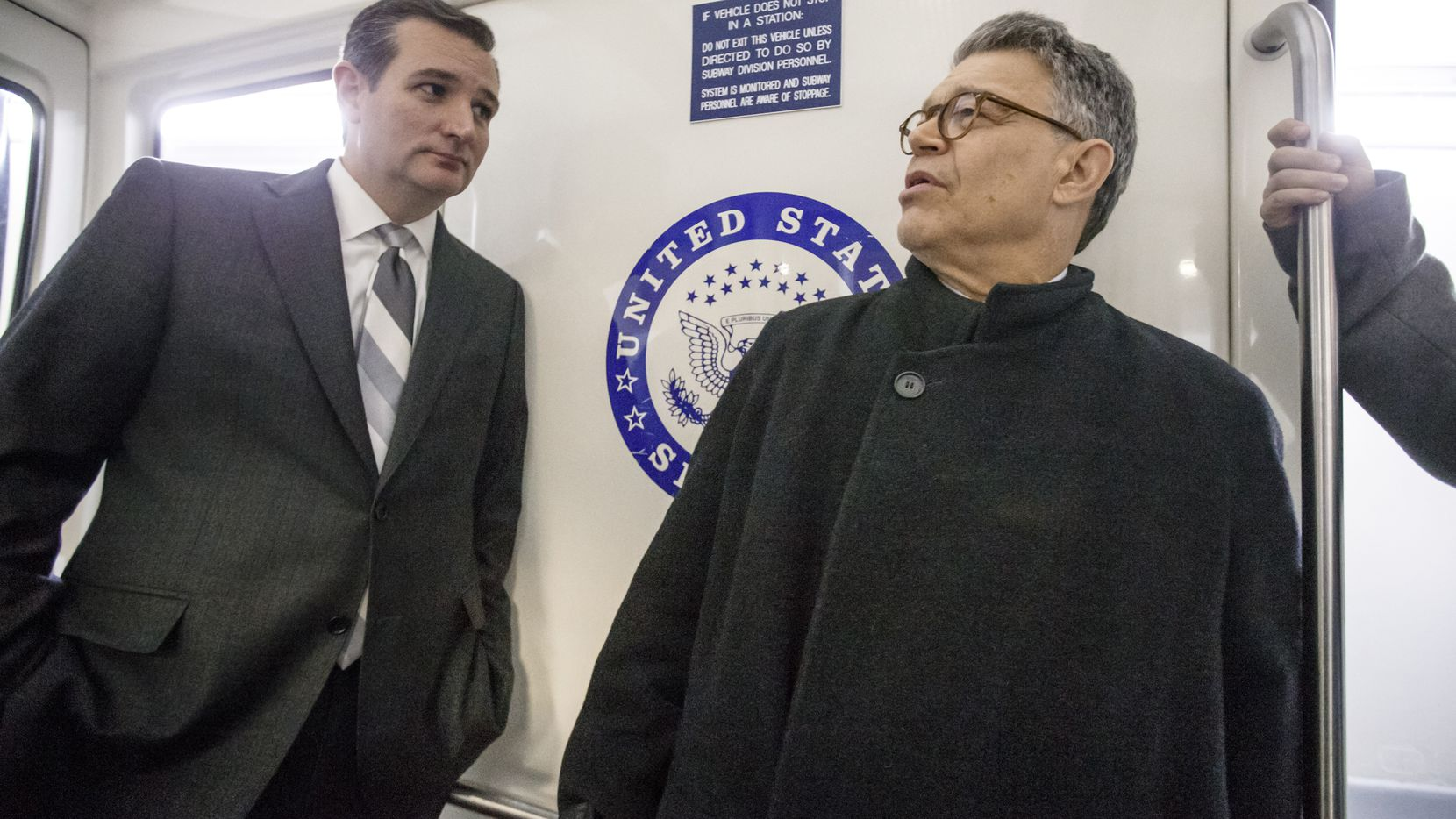 """Sen. Ted Cruz, R-Texas, left, and Sen. Al Franken, D-Minn., ride back back to their offices following roll call votes on Capitol Hill in Washington, Tuesday night, Nov. 18, 2014. Polar opposites on most issues, Cruz and Franken were in agreement when both voted """"yes"""" on a bill to end the bulk collection of American phone records by the National Security Agency, although the measure failed 58-42.  (AP Photo/J. Scott Applewhite)"""