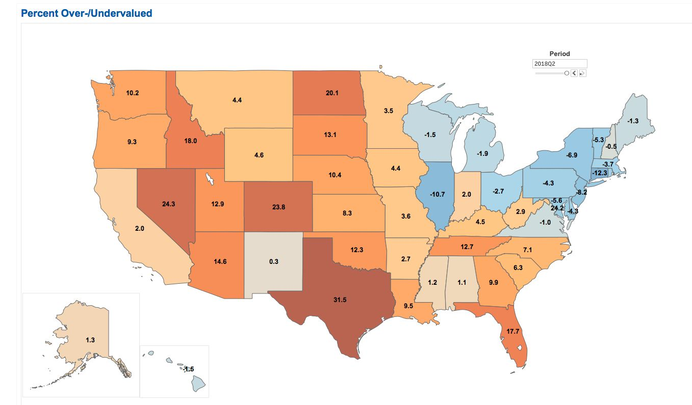 Texas home prices are the most overvalued in the country according to Arch Mortgage Insurance.