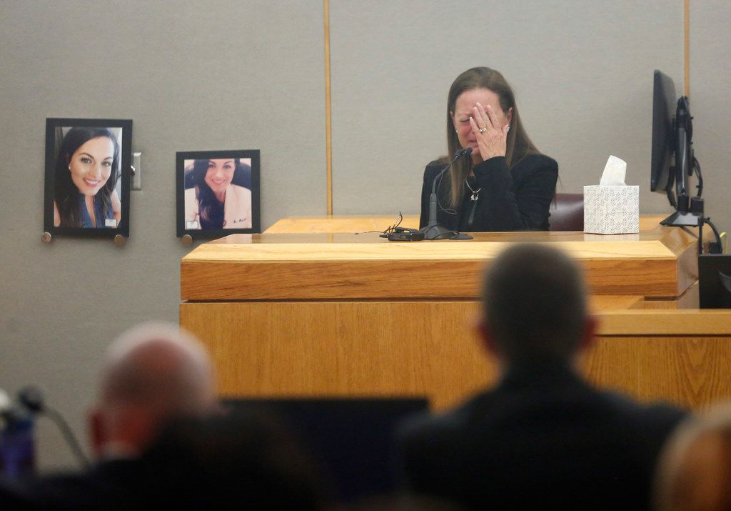 Bonnie Jameson, mother of Kendra Hatcher, covers her face as she gets emotional while on the stand during the capital murder trial for Kristopher Love in the 363rd district court of the Frank Crowley Courts Building in Dallas, on Monday, October 22, 2018. Love is the accused gunman in the 2015 slaying of pediatric dentist Kendra Hatcher. (Vernon Bryant/The Dallas Morning News)