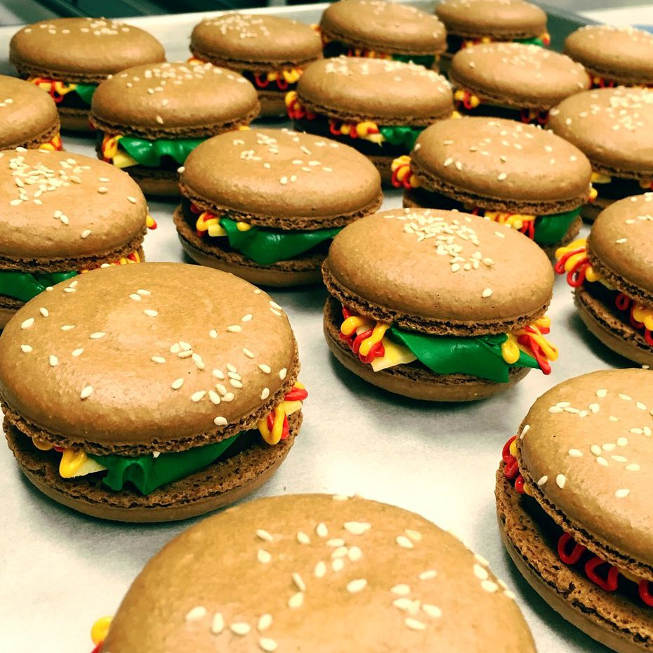 For the month of June, including Father's Day, Bisous Bisous Patisserie will bring back its oversized cheeseburger macarons, which are $5 each.