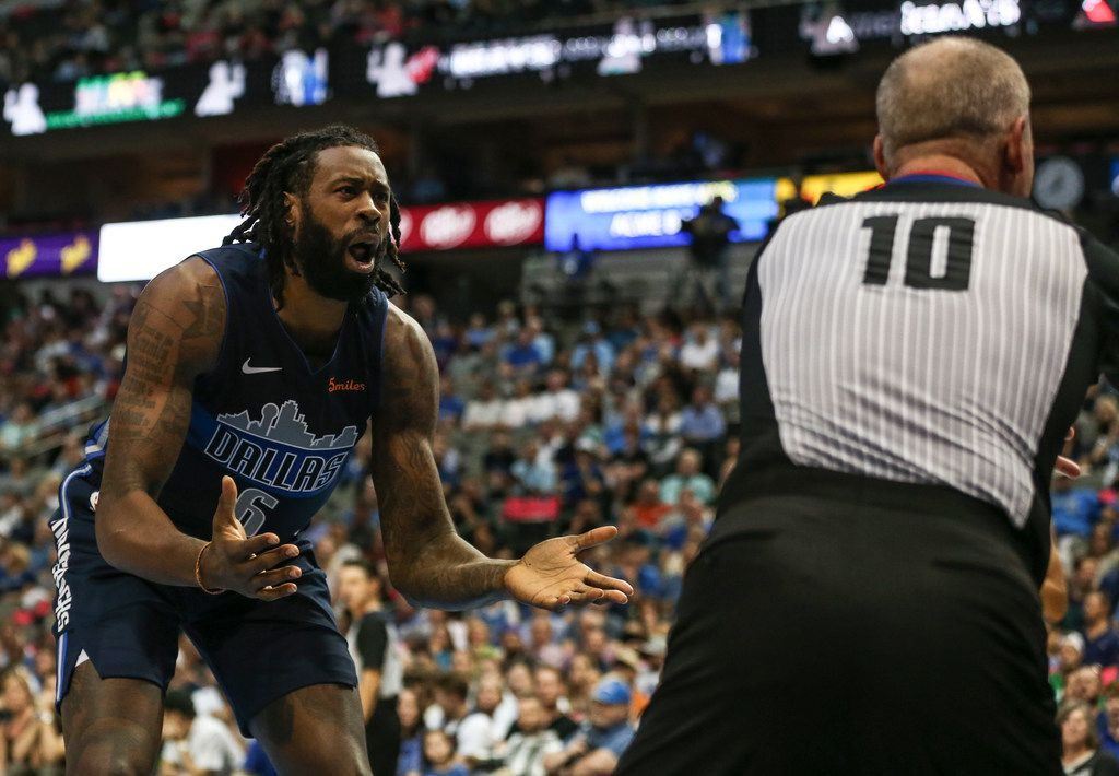 Dallas Mavericks center DeAndre Jordan (6) reacts to a call by referee Ron Garretson (10) during the second half a game between the Dallas Mavericks and the Utah Jazz at the American Airlines Center in Dallas, Sunday, October 28, 2018. (Ryan Michalesko/The Dallas Morning News)