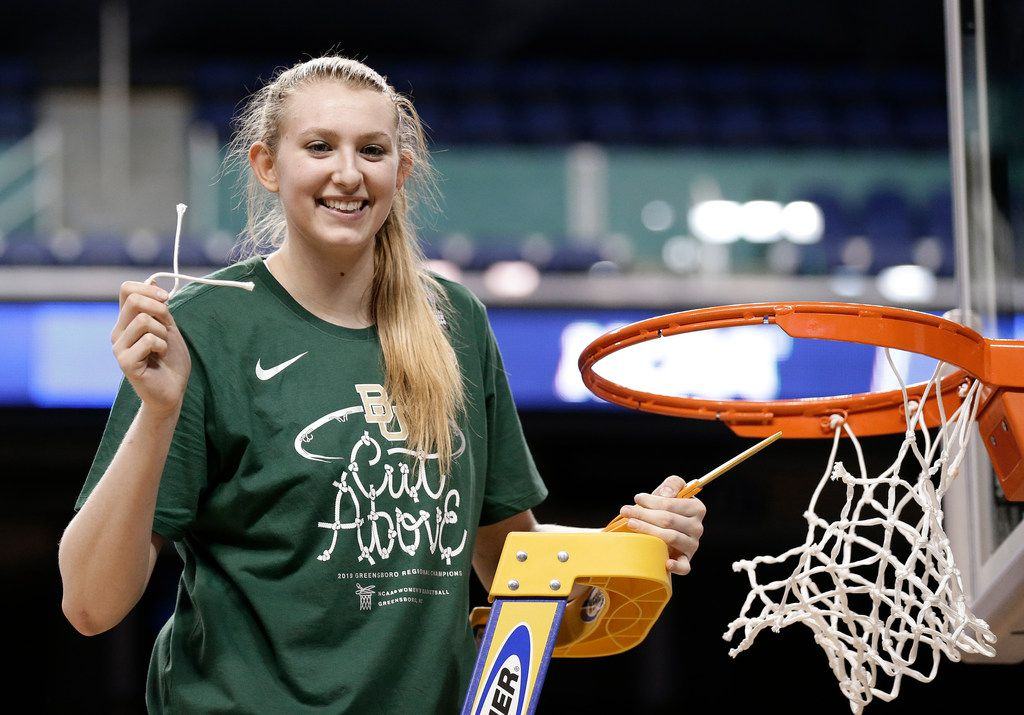 Baylor's Lauren Cox celebrates the team's win over Iowa in a regional final on Monday. (AP Photo/Gerry Broome)