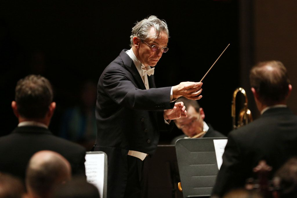 Dallas Symphony Orchestra is led by the music director-designate, Fabio Luisi in Dallas on April 18, 2019. (Allison Slomowitz/Special Contributor)