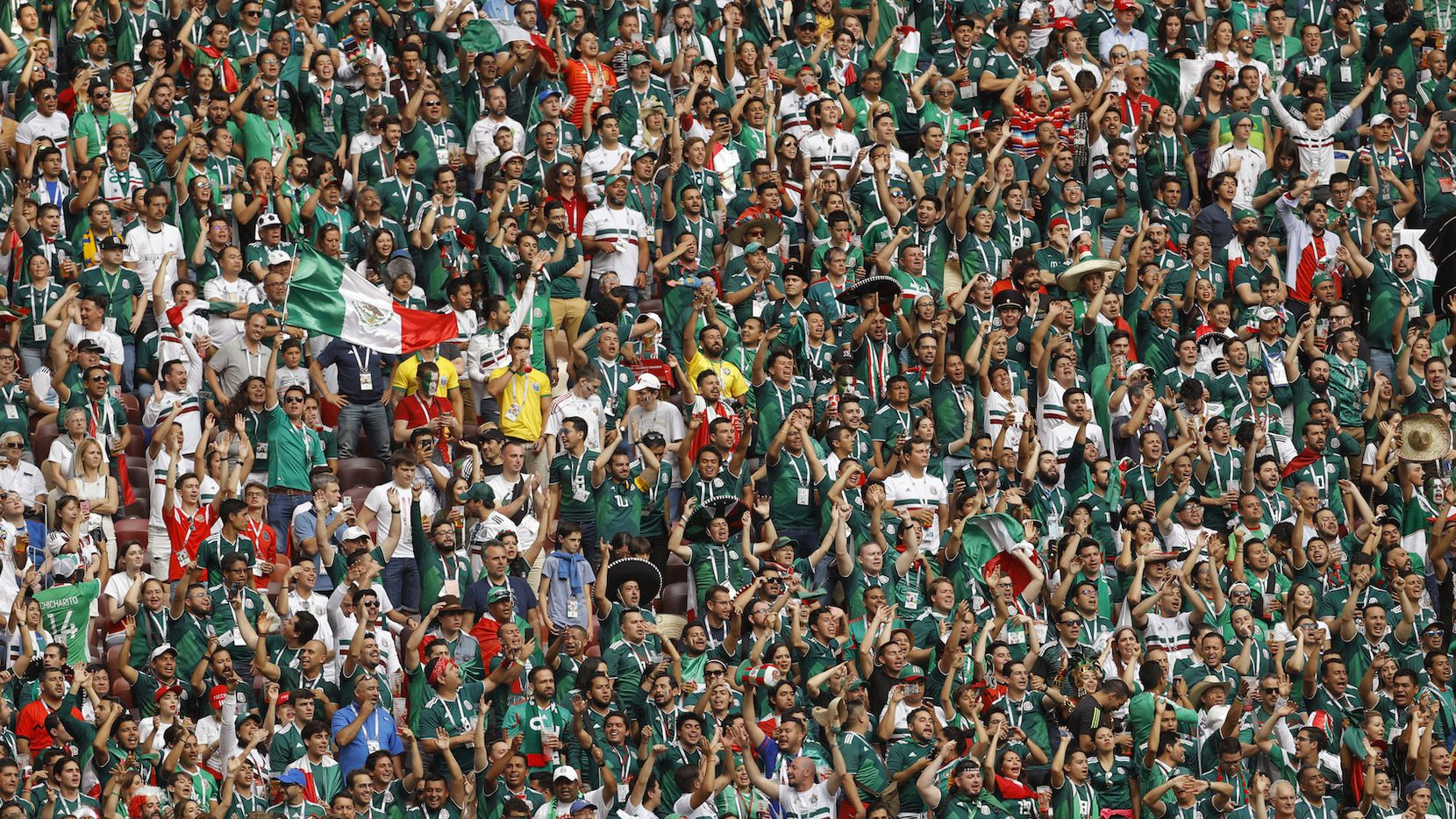 Sección de fans de México en el partido del domingo ante Alemania. AP