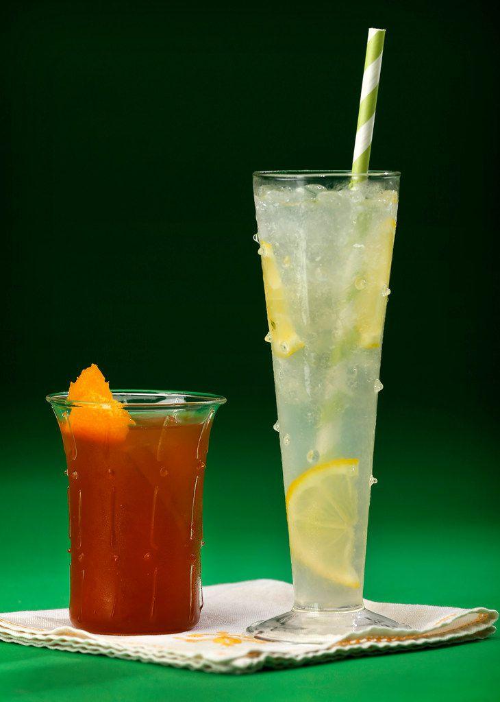 Elderflower New Fashioned Sparkling (left) and Elderflower Lemonade