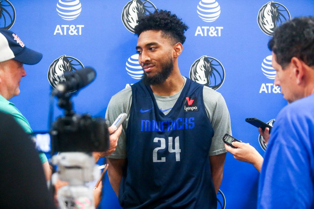 Guard Josh Reaves (24) answers questions from the media during the Dallas Mavericks Summer League practice at the Mavs practice facility in Dallas on Wednesday, July 3, 2019. (Shaban Athuman/Staff Photographer)