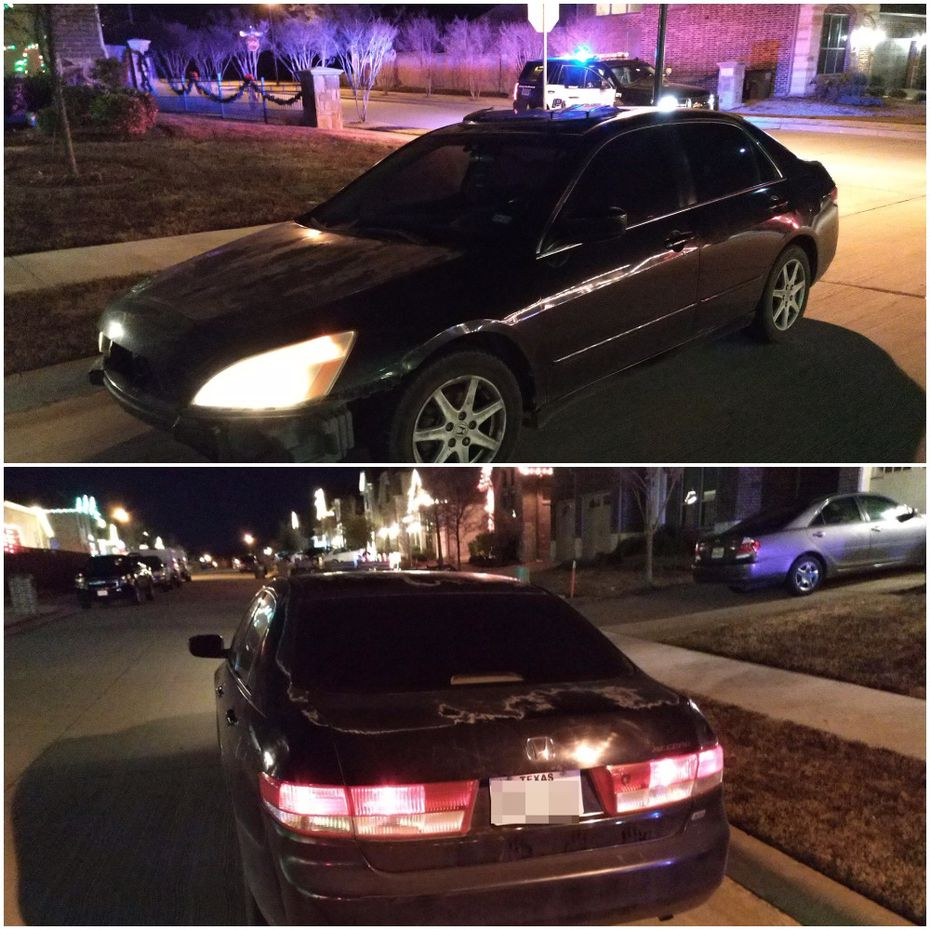 Images of the abandoned vehicle in which stolen phones were found, provided by Wylie police.