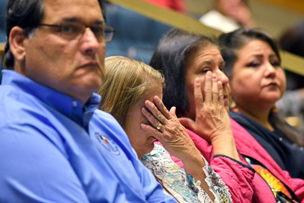 Annette Anderson, second from left, a member of Chickasaw and Cherokee tribes, along with Tracy Palmer, a member of the Muscogee Creek Nation tribe, wipe tears from their eyes as a council member honors indigenous people before discussing a resolution declaring the second Monday in October as Indigenous People's Day, during a Dallas city council meeting at Dallas City Hall on Tuesday morning Oct. 8, 2019. Far left is James Stephens, a descendent of Sac and Fox tribes, and far-right is Yolonda Blue Horse, a member of of the Rosebud Sioux tribe, both also spoke in favor of Indigenous People's Day during the council meeting. Ben Torres/Special Contributor