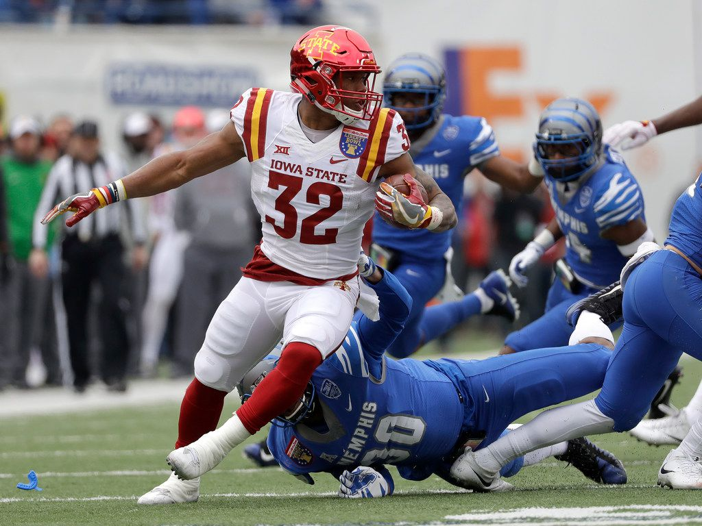 Iowa State running back David Montgomery (32) carries the ball against Memphis in the first half of the Liberty Bowl NCAA college football game, Saturday, Dec. 30, 2017, in Memphis, Tenn. (AP Photo/Mark Humphrey)