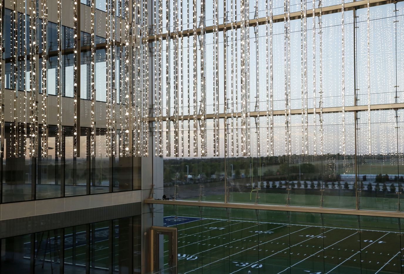 """Volume Frisco,"" an art installation that is a volumetric led display at the Dallas Cowboys new headquarters facility called The Star in Frisco on Wednesday, August 2, 2016. (Vernon Bryant/The Dallas Morning News)"