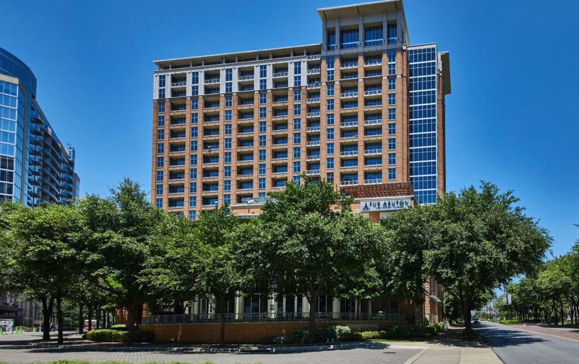 The Ashton apartment tower is located on Cedar Springs Road across from the Crescent.