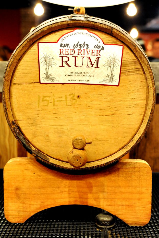 Red River rum barreled in 2013 is featured at the bar at Witherspoon Distillery in Lewisville, TX on October 24, 2015.