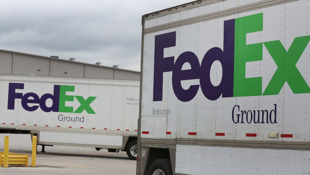 Trailers wait to be unloaded at the FedEx Ground Dallas Hub in Hutchins.