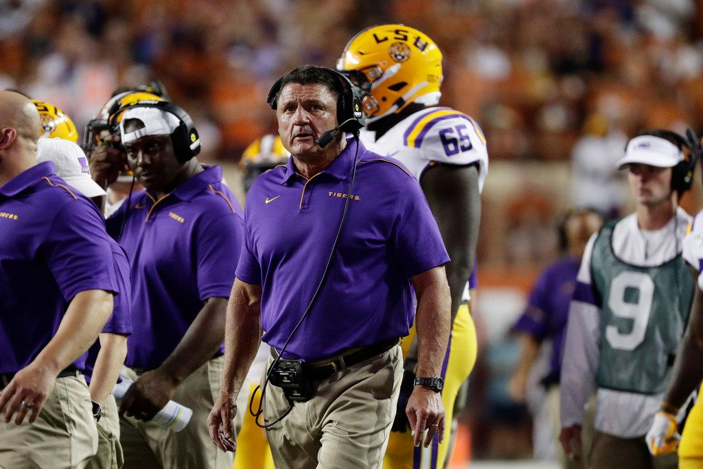 LSU coach Ed Orgeron during the first half of Saturday's game at Texas.