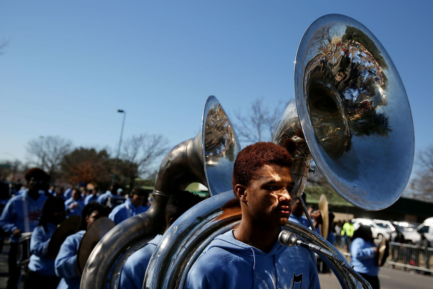 Skyline High School marching band participates in the parade.
