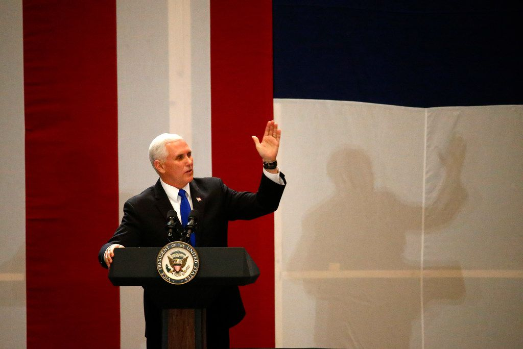 Vice President Mike Pence  makes a speech during the Dallas County Republican Party's Reagan Day Dinner at Omni Dallas in Dallas on Feb. 17, 2018.  (Nathan Hunsinger/The Dallas Morning News)
