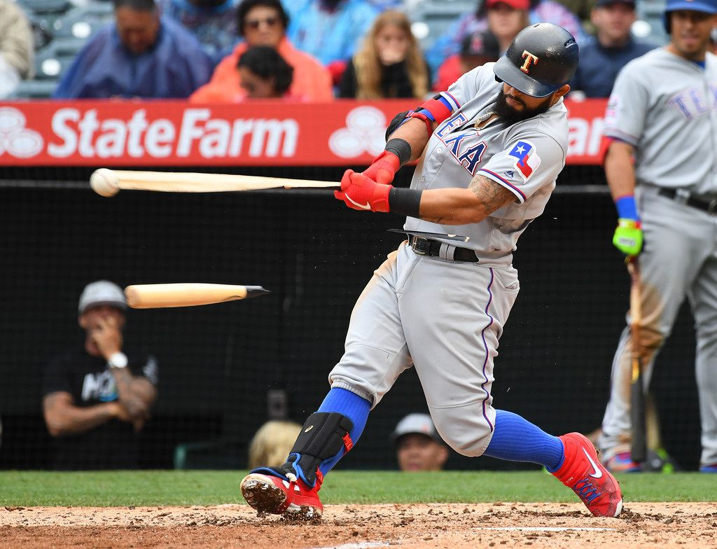ANAHEIM, CA - MAY 26: Rougned Odor #12 of the Texas Rangers breaks his bat on a RBI single in the sixth inning of the game against the Los Angeles Angels of Anaheim at Angel Stadium of Anaheim on May 26, 2019 in Anaheim, California. (Photo by Jayne Kamin-Oncea/Getty Images)