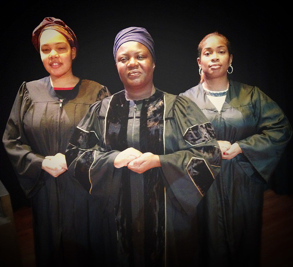 From left: Gabrielle Gray, Kenja Brown and Contessah Davis perform in Black Nativity for TeCo Theatrical Productions at the Bishop Arts Theatre Center.