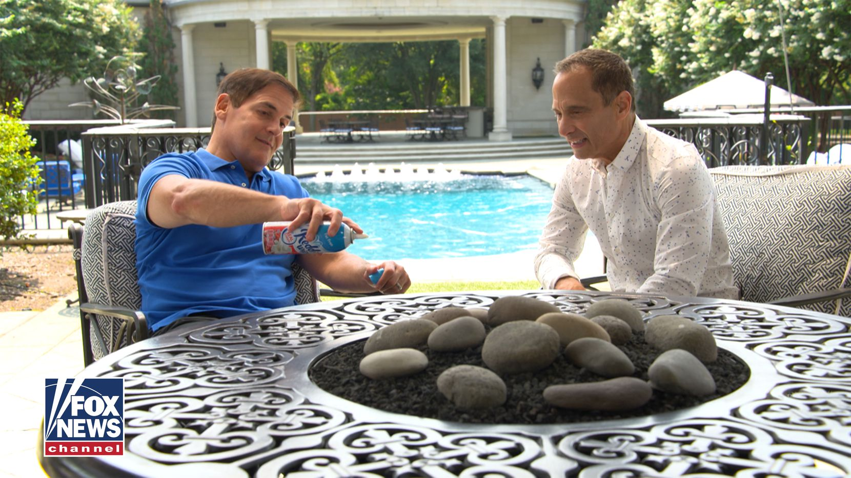 Mark Cuban sits with host Harvey Levin during a scene from Objectified, Levin's new Fox News show.