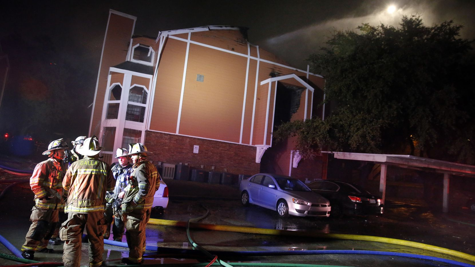 Dallas Fire Rescue responded to a three-alarm fire at the Solaris Apartments on Forest Lane in Far Northeast Dallas, Thursday evening, November 28, 2019.