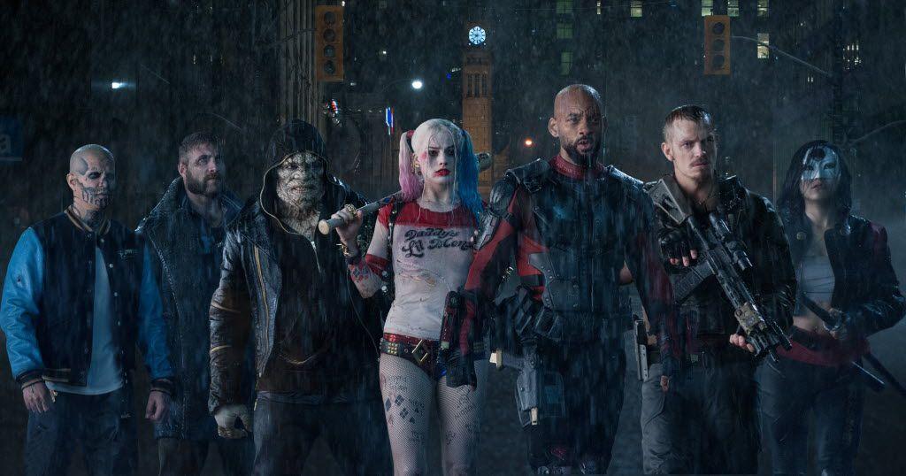 (From left)  Jay Hernandez as Diablo, Jai Courtney as Boomerang, Adewale Akinnuoye-Agbaje as Killer Croc, Margot Robbie as Harley Quinn, Will Smith as Deadshot, Joel Kinnaman as Rick Flag and Karen Fukuhara as Katana in Suicide Squad.