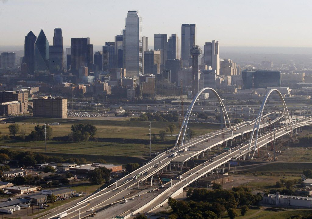 The Margaret McDermott Bridge and downtown Dallas on Friday, Oct. 28, 2016. The area northwest of the bridge will