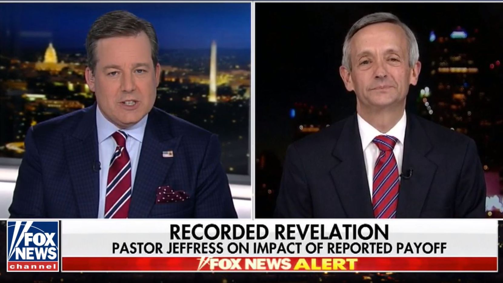 Rev. Robert Jeffress went on Fox News Friday night to defend President Donald Trump amid the news that the president's longtime lawyer, Michael Cohen, recorded him discussing payment of a Playboy model. (Fox News)