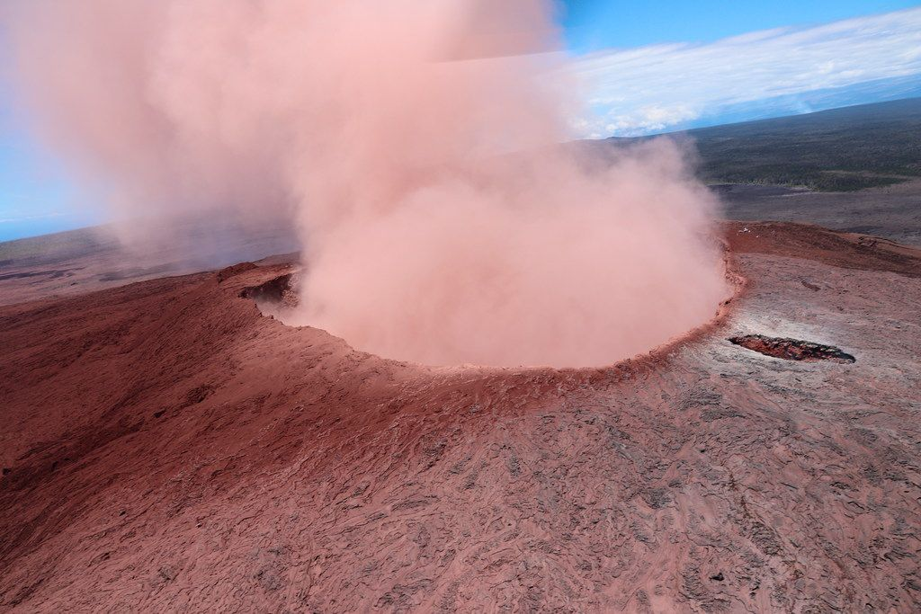 A plume of ash rises from the Puu Oo crater on Hawaii's Kilauea volcano May 3.