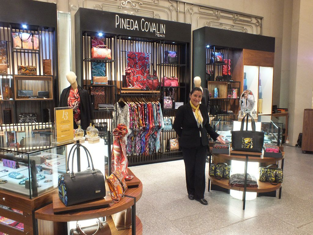 Pineda Covalin is one of the many Latin-influenced stores that await customers at El Palacio de Hierro.