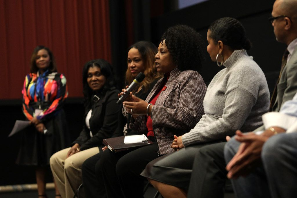 """The National Society for Black Engineers DFW """"Hidden Figures of Dallas"""" guest panel discusses how the movie relates to modern life challenges after a special screening of the movie Hidden Figures at the Alamo Drafthouse on Feb. 26, 2017. (Jason Janik/Special Contributor)"""
