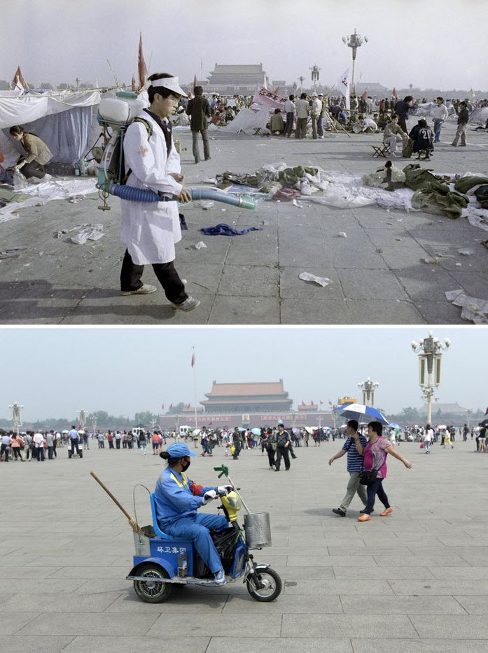 In this combination of photos, a May 26, 1989 file photo, top, shows a sanitation worker cleaning up Tiananmen Square which had been occupied by student protesters, and the same spot almost 25 years later, in a May 22, 2014 photo, bottom, a cleaner, wearing a red armband who is part of the civilian security informers, watches tourists on her electric tricycle in Beijing.