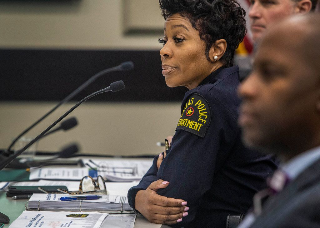 Dallas Police Chief U. Renee Hall listened to comments on recommendations for the Citizens Police Review Board during a Dallas City Council meeting on Monday.