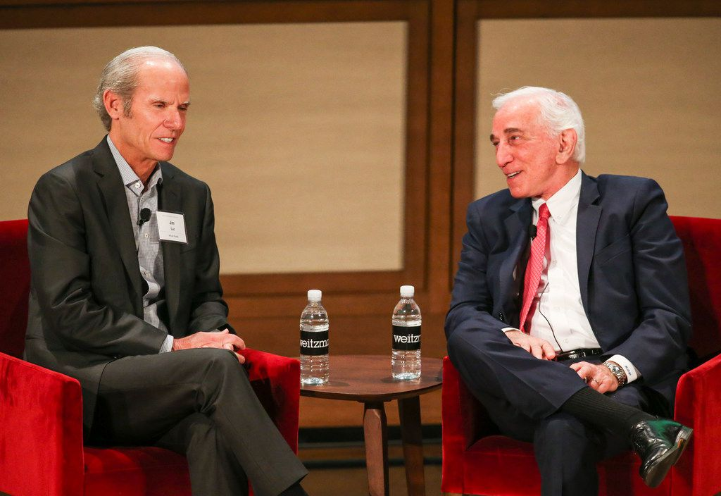 Jim Sud, Whole Foods Market's executive vice president of growth and business development, (left), talks with Weitzman Executive Chairman Herb Weitzman on Tuesday, Jan. 8, 2019, at the George W. Bush Presidential Center.