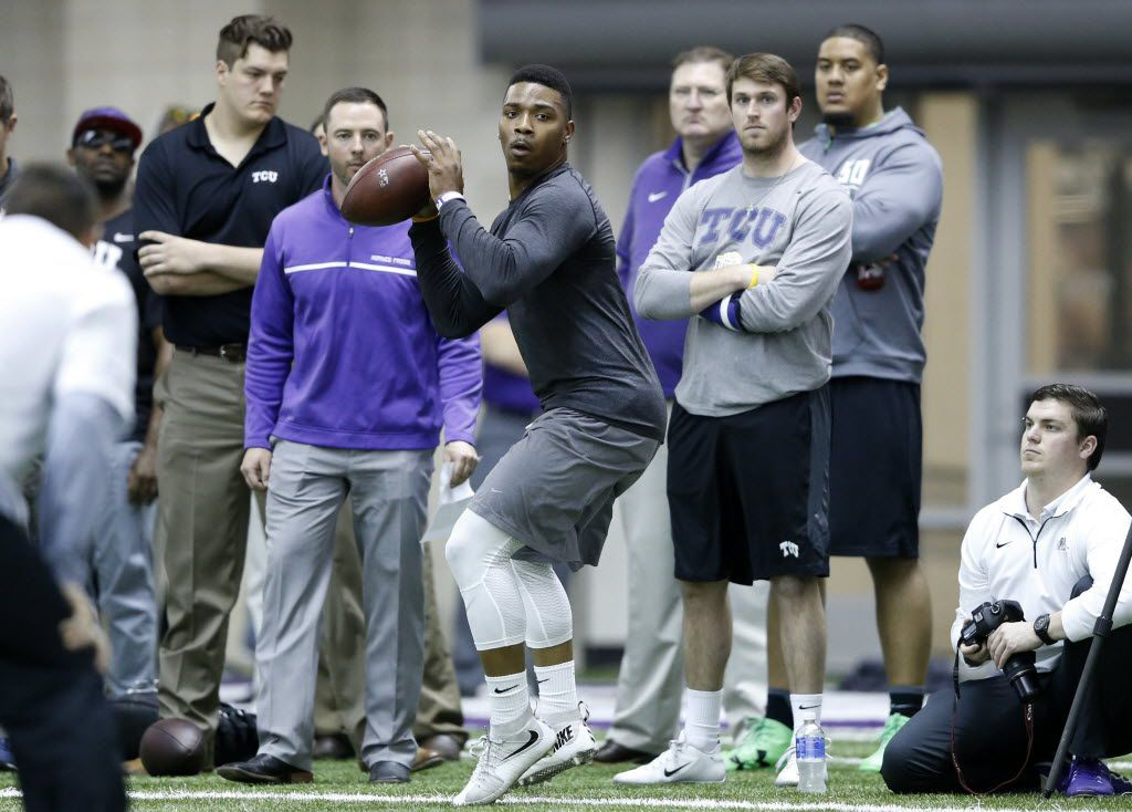 TCU's Trevone Boykin looks to pass during position drills at Pro Day at TCU in Fort Worth on Thursday, March 31, 2016. (Vernon Bryant/The Dallas Morning News)
