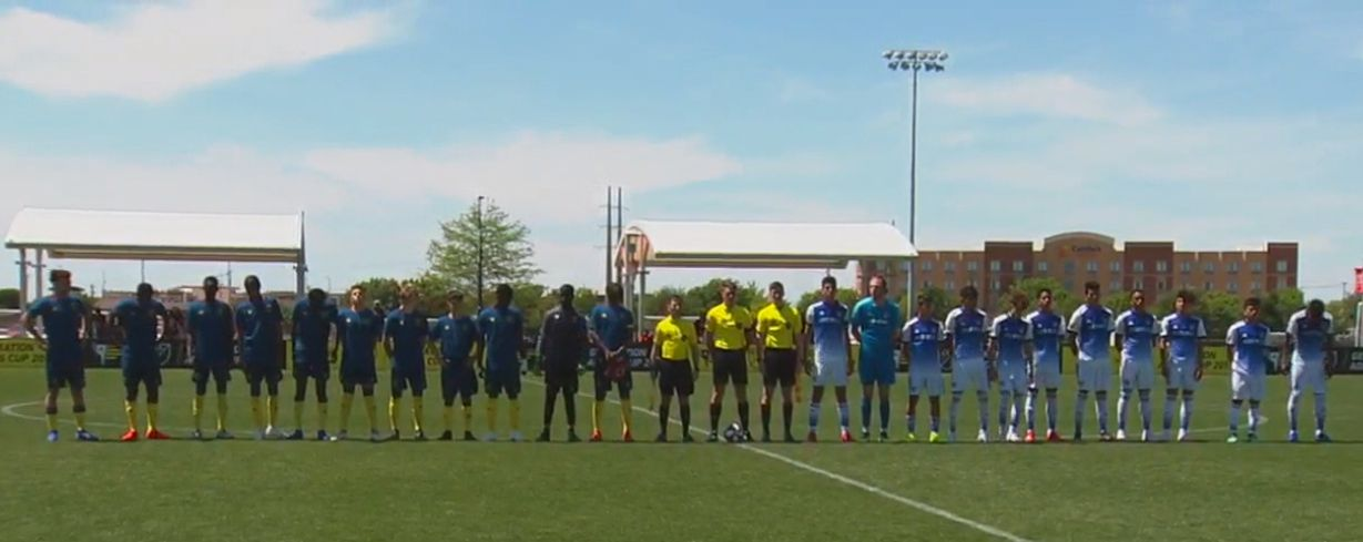 West Ham (left) and FC Dallas (right) line up before kickoff in their Group A game during the 2019 GA Cup.