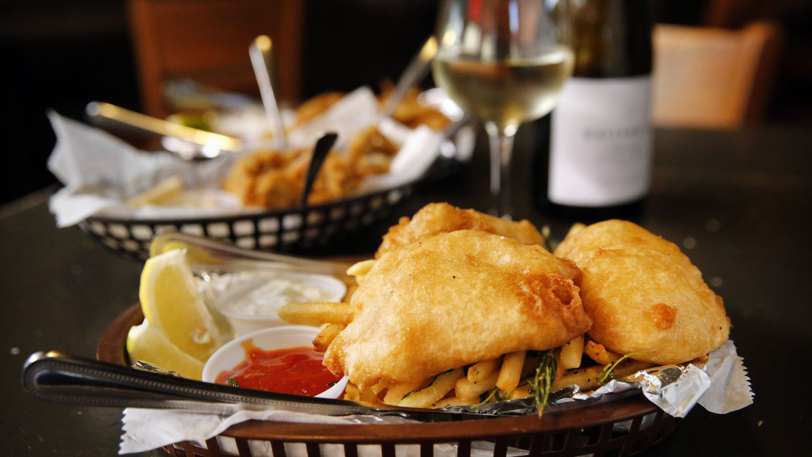 Fish & chips was paired with wines during The Dallas Morning News wine panel tasting at 20 Feet Seafood on Peavy Rd. in Dallas, Tuesday, September 17, 2019. (Tom Fox/The Dallas Morning News)