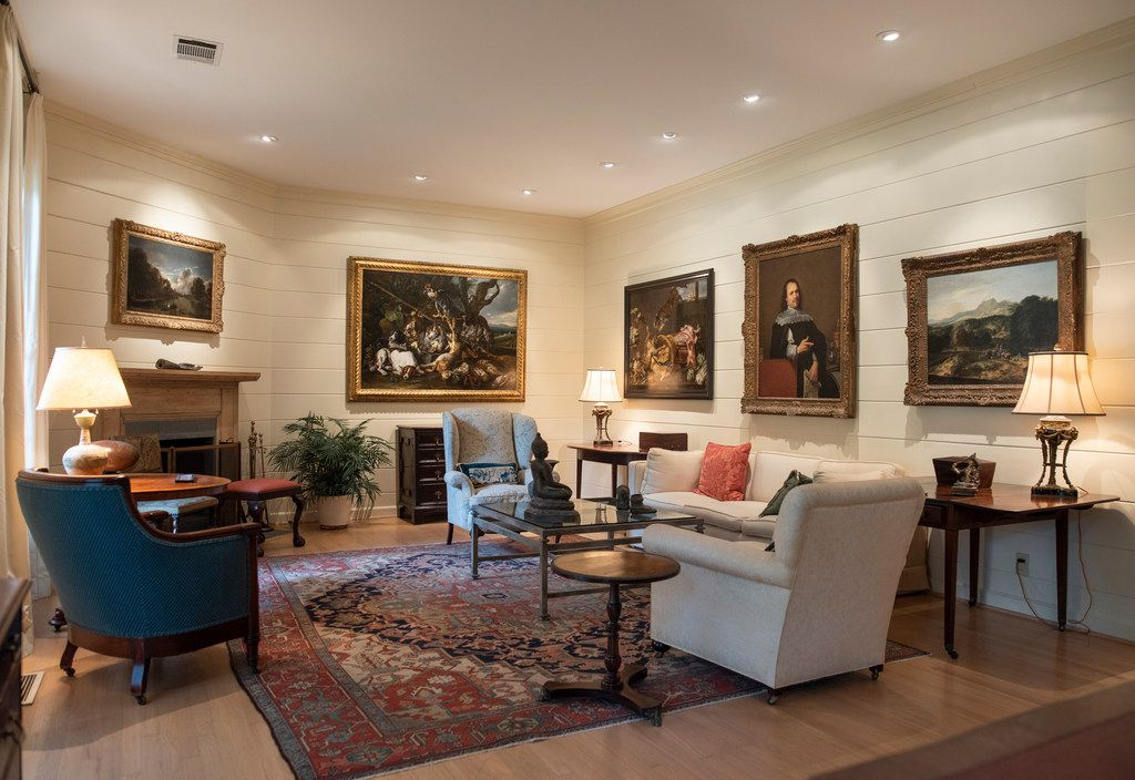The living room of Dallas art collectors Thomas and Jeanne Campbell