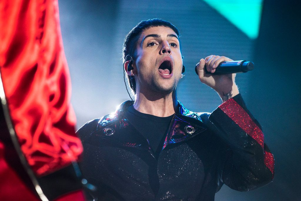 Mitch Grassi, of Pentatonix, sings during the concert at Dos Equis Pavilion in Dallas on July 26, 2018. Grassi was born in Arlington, Texas. (Carly Geraci/The Dallas Morning News)